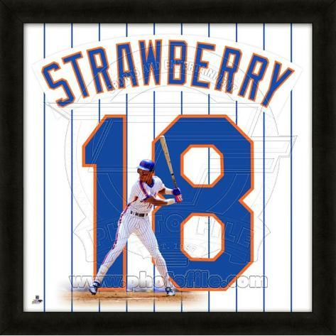 Darryl Strawberry, Mets representation of the player's jersey Framed Memorabilia