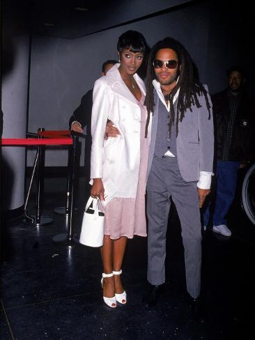 Model Naomi Campbell and Singer Lenny Kravitz Premium Photographic Print