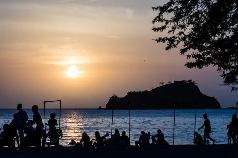 Beautiful Four Colors Sunset in the Rodadero Beach, Santa Marta, Colombia Photographic Print