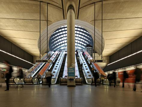 London Canary Wharf Tube Station as Part of the Jubilee Line Extension Was Designed by Norman Foste Photographic Print