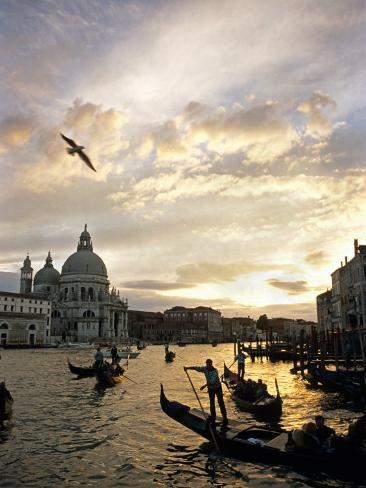 Grand Canal, Santa Maria della Salute Church, Gondolas, Venice, Italy Photographic Print