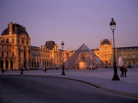 Le Louvre Museum and Glass Pyramids, Paris, France Photographic Print