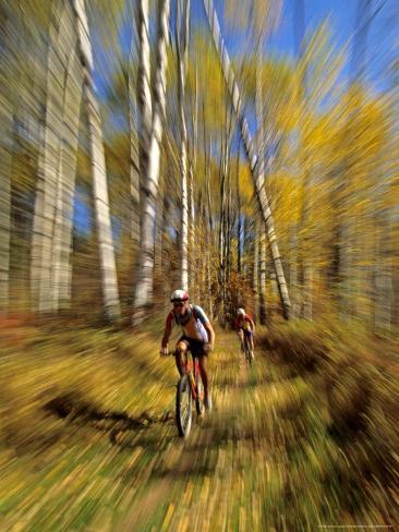 Mountain Bike Race, Methow Valley, Washington State, USA Photographic Print