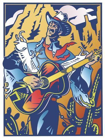 Singing Cowboy Giclee Print