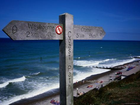 Signpost on North Norfolk Coast Path, at Sheringham Photographic Print