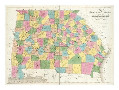 Map of Georgia and Alabama, c.1839 Art Print