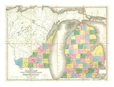 Map of Michigan and Part of Wisconsin Territory, c.1839 Art Print