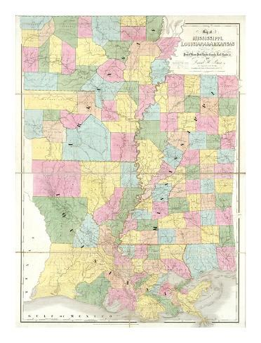 Map of Mississippi, Louisiana and Arkansas, c.1839 Art Print