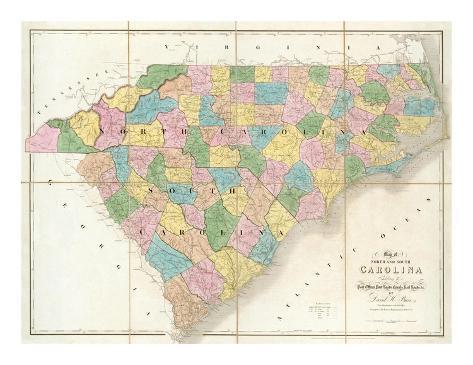 Map of North and South Carolina, c.1839 Art Print