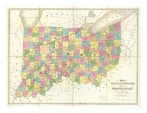 Map of Ohio and Indiana, c.1839 Art Print