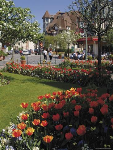 Flower Beds with Tulips in Town Centre, Deauville, Calvados, Normandy, France Photographic Print