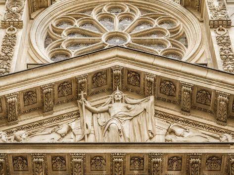 Facade Detail from Sainte-Genevieve, Paris, France Photographic Print