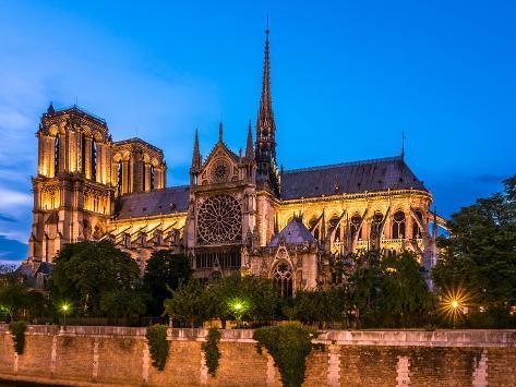 Notre Dame De Paris Cathedral-Night View Photographic Print