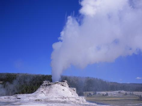 Castle Geyser Erupting, Yellowstone National Park, Wyoming, USA Photographic Print