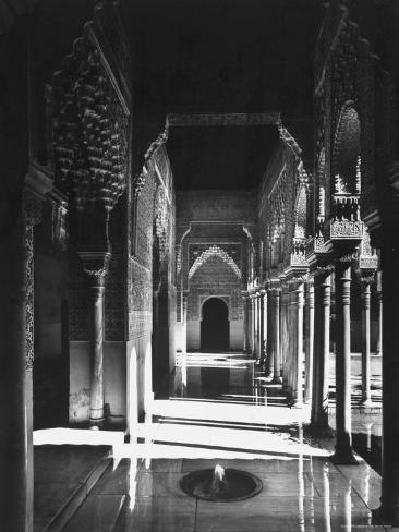 Magnificently Decorated Columns and Arches in an Arcade at the Alhambra Palace Photographic Print