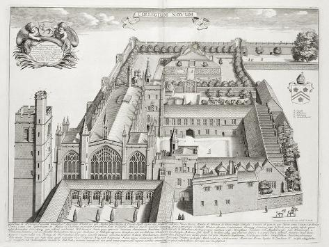 New College, Oxford, from 'Oxonia Illustrata', Published 1675 (Engraving) Impressão giclée