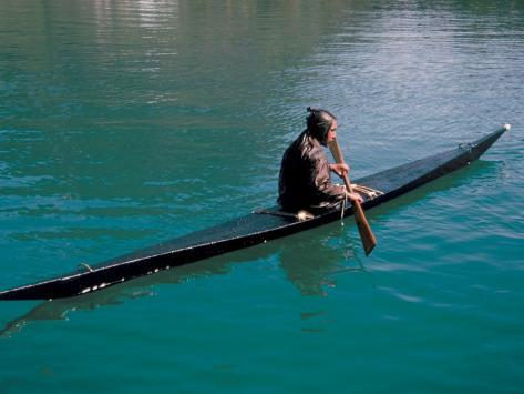 Inuit in Traditional Kayak, Greenland, Polar Regions Photographic Print