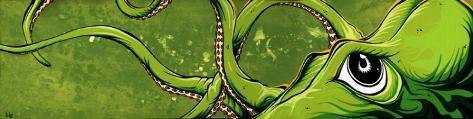 Underwater Curiosity Green Stretched Canvas Print