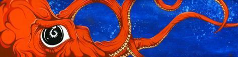 Underwater Curiosity Orange Stretched Canvas Print