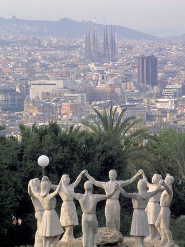Sculpture with Barcelona in Background, Spain Photographic Print