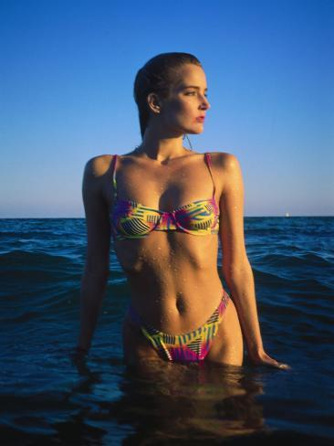 Young Woman Wearing Swimsuit on Beach in Water Photographic Print