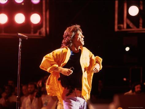 Singer Mick Jagger Performing Premium Photographic Print