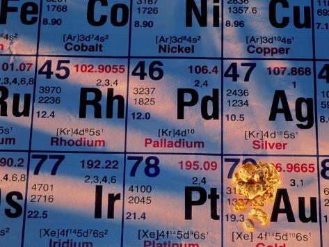 Nuggets of Gold on Periodic Table Photographic Print