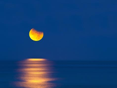 Partial Eclipse of the Moon, Setting over the Gulf of Mexico on the Morning of June 26, 2010 Photographic Print