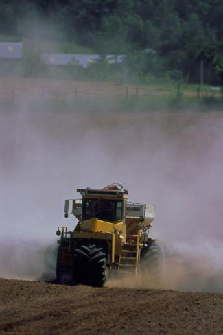 View of a Tractor Spreading Lime Photographic Print