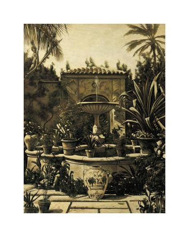 Courtyard Fountain Giclee Print