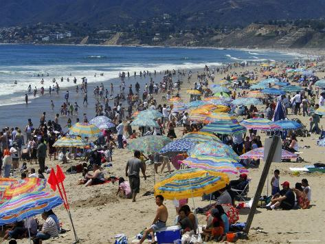 Crowd on Santa Monica Beach Photographic Print