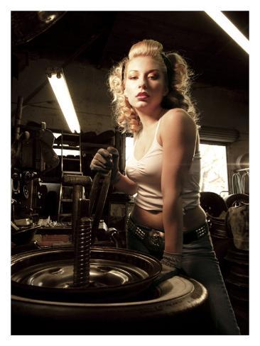 Garage Pin-Up Girl Giclee Print