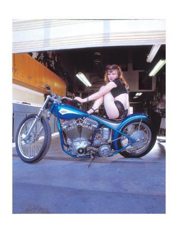 Pin-Up Girl: Blue Chopper Giclee Print
