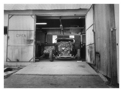 Rat rod work shop garage giclee print by david perry at for Garage prints