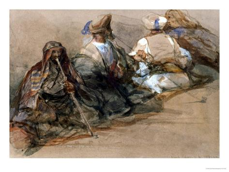 Group of Arab Figures, Two Smoking a Cubuk Giclee Print