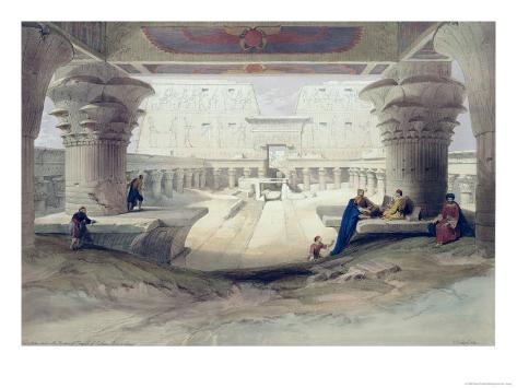 View from Under the Portico of Temple of Edfou, Upper Egypt Lámina giclée
