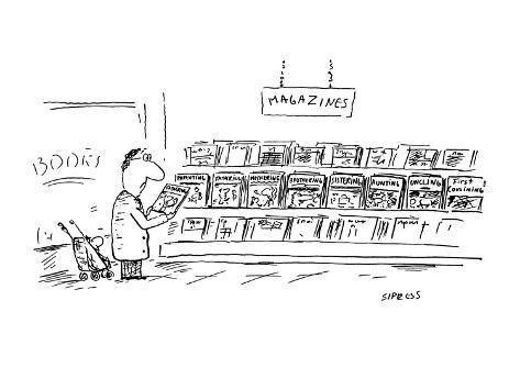 man at magazine section of bookstore; titles:  Parenting, Fathering, Mothe… - Cartoon Premium Giclee Print