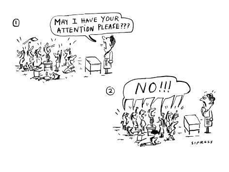 May I have your attention please??? - Cartoon Premium Giclee Print