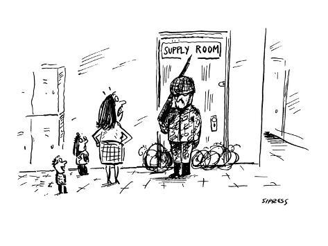 teachers' supply room is guarded by armed soldier - Cartoon Premium Giclee Print