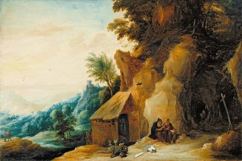 Saints Anthony and Paul in a Landscape, C.1636-38 Giclee Print