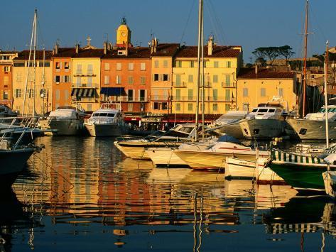 Harbour Boats and Waterfront Houses, St. Tropez, Provence-Alpes-Cote d'Azur, France Photographic Print