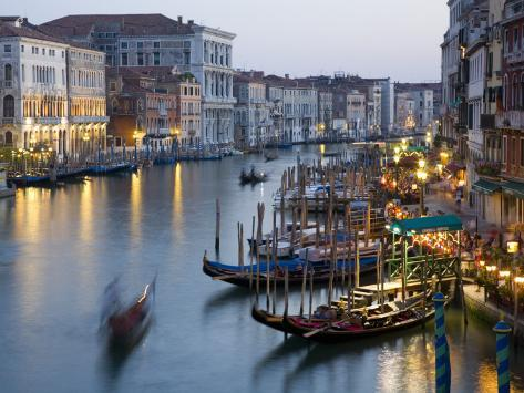 Outlook from Ponte Di Rialto Along Grand Canal at Dusk Photographic Print