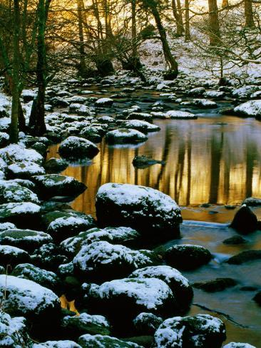 River Rathay at Grasmere with Winter Snow on Rocks, Lake District National Park, Cumbria, England Photographic Print
