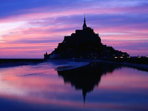 The Mont Reflected in the Bay at Dusk, Mont St. Michel, Basse-Normandy, France Photographic Print