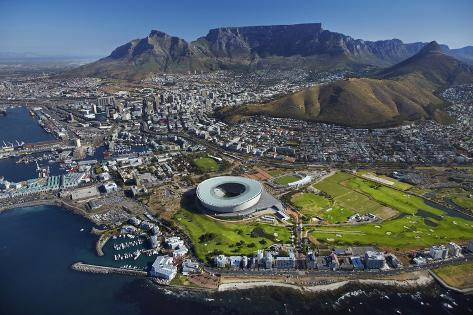 Aerial of Stadium, Golf Club, Table Mountain, Cape Town, South Africa Photographic Print