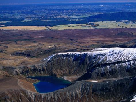 Aerial of Upper Tama Volcanic Lake, Tongariro National Park, Manawatu-Wanganui, New Zealand Photographic Print
