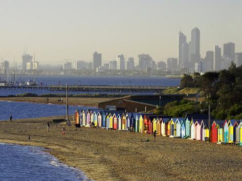 Bathing Boxes, Middle Brighton Beach, Melbourne, Victoria, Australia Photographic Print