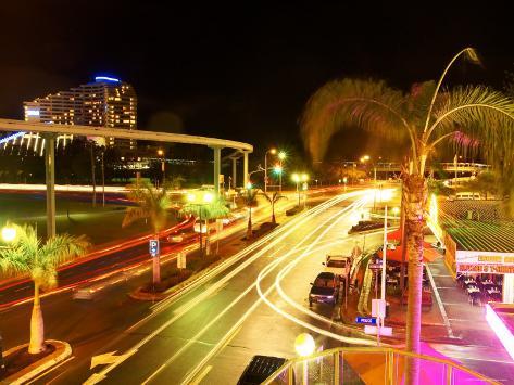 City Street at Night with Monorail and Jupiters Casino, Broadbeach, Australia Photographic Print