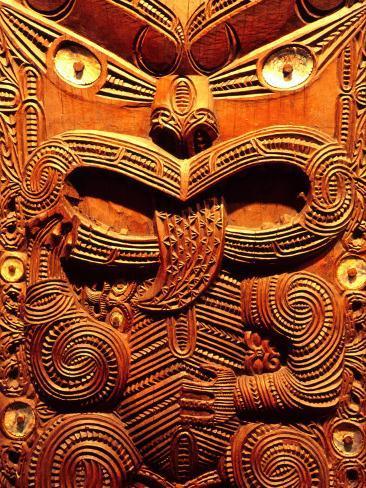Historic Maori Carving, Otago Museum, New Zealand Photographic Print