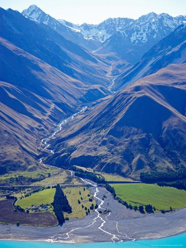 Lake Pukaki and Whale Stream, Ben Ohau Range, South Island, New Zealand Photographic Print